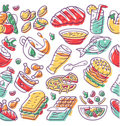 Food seamless pattern nutrition background white vector