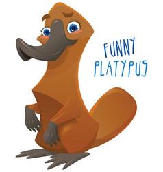 Funny happy cartoon platypus vector