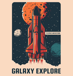 Galaxy explore rocket take off spaceport vector