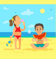girl on beach eating ice cream and boy with fruit vector image