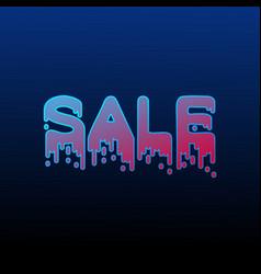 Gradient sale neon poster vector