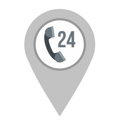 gray map pointer with phone handset sign icon vector image