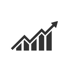 Growing bar graph icon in flat style increase vector