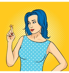 hand drawn pop art of young woman with the vector image