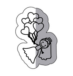 hand drawn sticker silhouette with bride and vector image