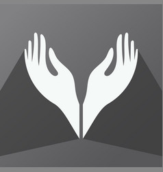 Hand icon cupped hands vector