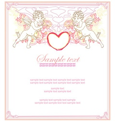 happy valentines day card with cupid vector image