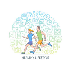 Healthy lifestyle banner3 vector