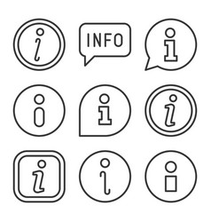 info icons set on white background line style vector image