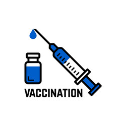 Ingection or vaccination icon syringe with needle vector