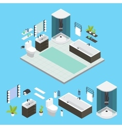 Isometric Bathroom Interior Composition vector image