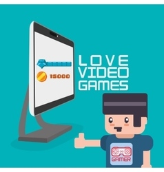 Love video games avatar gamer computer vector