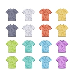 Male colored short sleeve t-shirts with the vector image