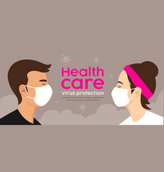 Man and woman with mask health care virus vector