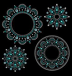 Mandala australian dot paiting set vector