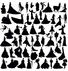 Many silhouettes brides vector