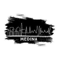 Medina saudi arabia city skyline silhouette hand vector