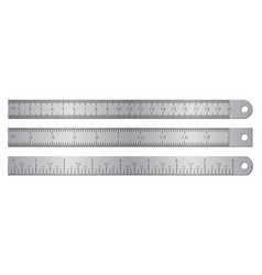 metallic school rulers with inch and centimeter vector image
