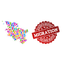 Migration collage of mosaic map of schleswig vector