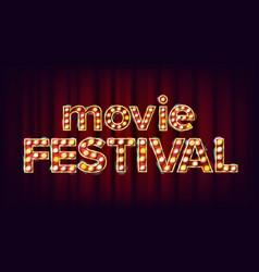 movie festival sign vintage cinema 3d vector image