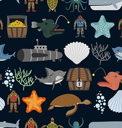 Ocean seamless pattern Ocean inhabitants Starfish vector image