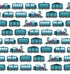 Pattern of vintage locomotives vector image