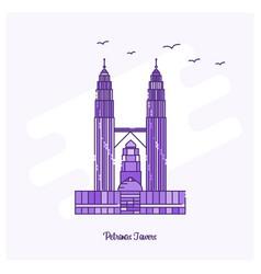 Petronas towers landmark purple dotted line vector