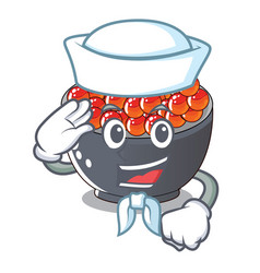 Sailor roe salmon in a cartoon bowl vector