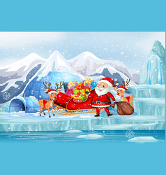 scene with santa and reindeers vector image