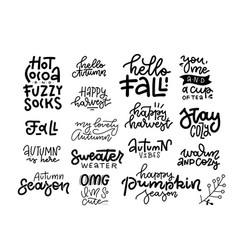 set 16 inspirational cute fall calligraphy vector image