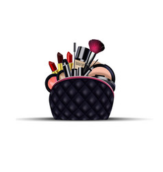 Set of cosmetics with black bag on isolated vector