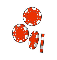 Set of falling red gambling casino poker chips vector