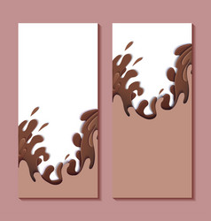 set vertical banners with paper cut sweet waves vector image