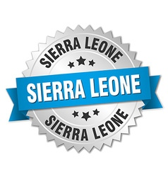 Sierra Leone round silver badge with blue ribbon vector