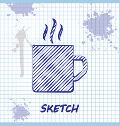 Sketch line coffee cup flat icon isolated on white vector