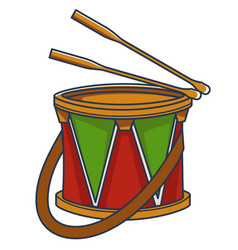 small drum with strap and sticks toys for kids vector image