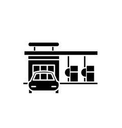 small gas station black icon sign on vector image
