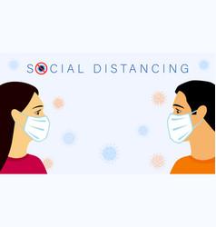 social distancing text men women in medical mask vector image