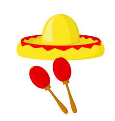 sombrero and maracas - symbols of mexico vector image