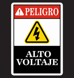 Spanish danger high voltage sign vector