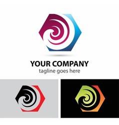 Swirl icon hexagon logo vector