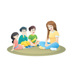 teacher and little kids sitting on soft carpet vector image