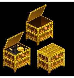 Three golden ancient chests and magical book vector