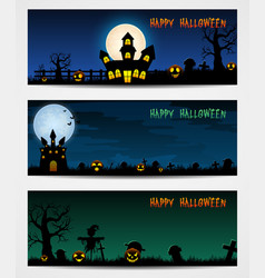 three halloween banners with castle and scarecrow vector image