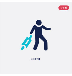 Two color guest icon from hotel and restaurant vector