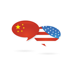 Us america and china flags on glossy speech bubble vector