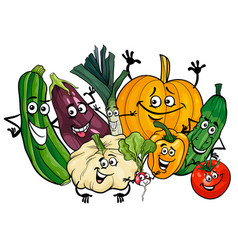 Vegetable characters group cartoon vector