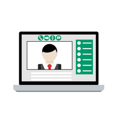 video call on laptop vector image