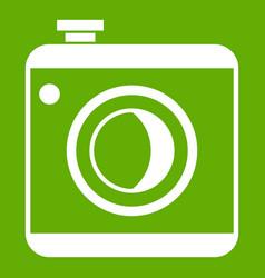 vintage photo camera icon green vector image
