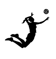 volleyball girl black silhouette isolated woman vector image